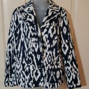 Chico's blue and white abstract blazer sz 1